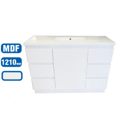 1210*460*870mm White MDF Vanity with Ceramic Top Freestanding