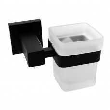 Ottimo Nero Black Glass Toothbrush Holder
