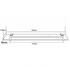 Ottimo Chrome Glass Shelf Holder 500mm