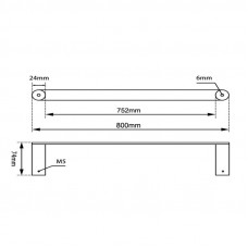 Brushed Nickel 800mm Double Towel Rail Stainless Steel 304 Wall Mounte..