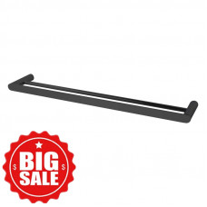 Rumia Black Double Towel Rail 600mm Stainless Steel 304 Wall Mounted