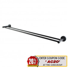 Euro Pin Lever Round Black Double Towel Rack Rail 790mm
