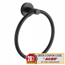 Euro Pin Lever Round Black Hand Towel Ring Wall Mounted