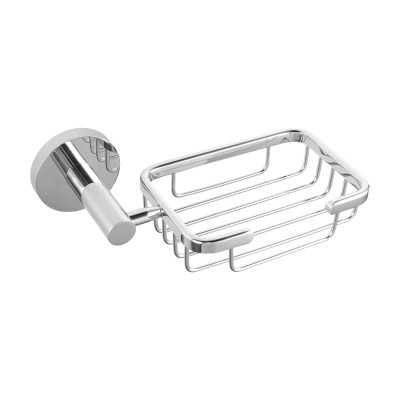Euro Pin Lever Round Chrome Soap Holder Stainless Steel Wall Mounted