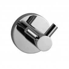Round Chrome Stainless Steel Double Robe Hook Wall Mounted