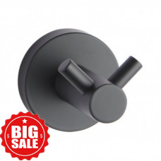 Euro Pin Lever Round Black Stainless Steel Double Robe Hook Wall Mount..