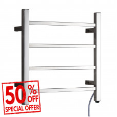 Ottimo Chrome Square Electric Heated Towel Rack 4 Bars