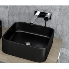 380*380*120mm Bathroom Square Above Counter Matt Black Poly Marble Wash Basin