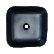 385*385*140mm Bathroom Square Above Counter Matt Black Ceramic Wash Basin