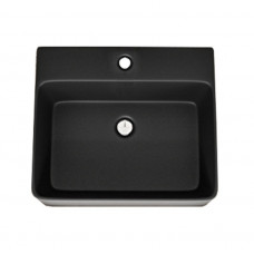 460*420*155mm Bathroom Square Above Counter Matt Black Ceramic Wash Basin