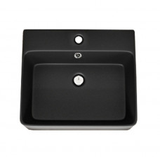460*420*155mm Bathroom Square Above Counter Matt Black Ceramic Wash Ba..