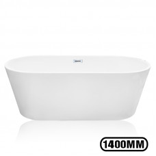 1400x700x580mm Oval Bathtub Freestanding Acrylic Apron White Bath Tub