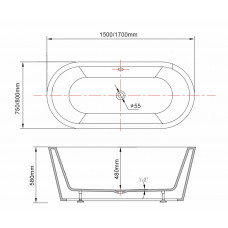 1500x750x580mm Oval Bathtub Freestanding Acrylic Apron White Bath Tub
