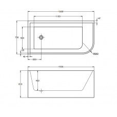 1500x750x610mm Corner Bathtub Left Corner Back to Wall Acrylic  White ..