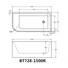 1500x750x610mm Corner Bathtub Right Corner Back to Wall Acrylic  White..