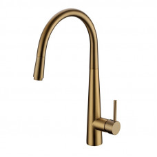 Pentro Round Brushed Yellow Gold 360° Swivel Pull Out Kitchen Sink Mix..