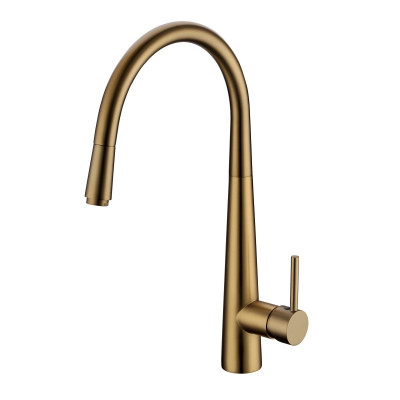pentro round brushed yellow gold 360° swivel pull out kitchen sink mixer tap