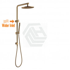 10 inch 250mm Round Brushed Yellow Gold Twin Shower Station Top Inlet