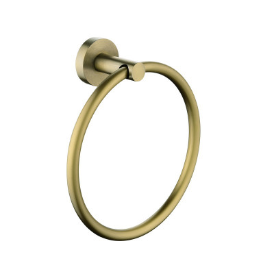 Pentro Round Brushed Yellow Gold Hand Towel Ring Wall Mounted