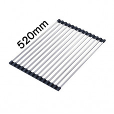 520x340mm Stainless Steel Roll-Up Kitchen Sink Colander Dish Drainer O..