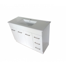 1200*460*870mm White MDF Vanity with Ceramic Top Freestanding