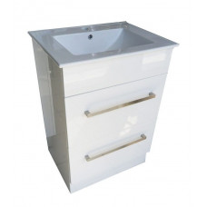 600*460*870mm White MDF Vanity with Ceramic Top Freestanding