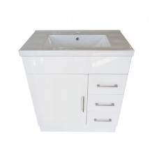 760*460*880mm White MDF Vanity with Ceramic Top Freestanding