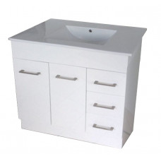 905*460*880mm White MDF Vanity with Ceramic Top Freestanding