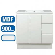 900*460*860mm White MDF Vanity with Ceramic Top Freestanding
