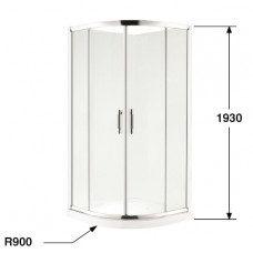 1000*1000*1930mm 2-Panel Sliding door Round Shower Box