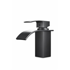 Omar Nero Waterfall Matt Black Bathroom Basin Mixer Black Taps