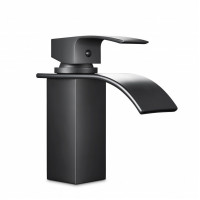 Omar Nero Waterfall Matt Black Bathroom Basin M..