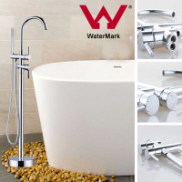 Euro Round Chrome Freestanding Bath Mixer Taps With Hand held Shower Tapware Bathtub Filler