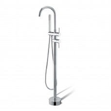 Euro Round Chrome Freestanding Bath Mixer Taps With Hand held Shower T..
