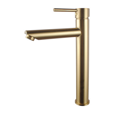 round solid brass brushed yellow gold tall basin mixer bathroom vanity tap