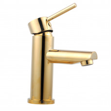 Euro Round Yellow Gold Basin Mixer