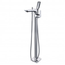 Chrome Freestanding Bathtub Mixer with Handheld Shower Spout Floor Mou..