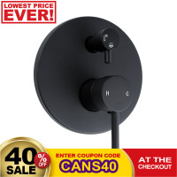 Euro Round Nero Matt Black Shower/Bath Mixers D..