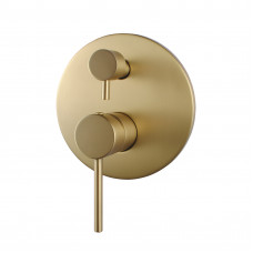 Euro Round Brushed Yellow Gold Shower/Bath Mixer with Diverter Wall Mo..