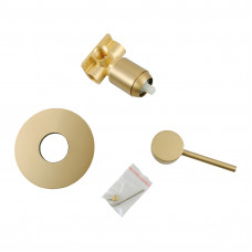 Euro Round Brushed Yellow Gold Shower/Bath Wall Mixer Solid Brass