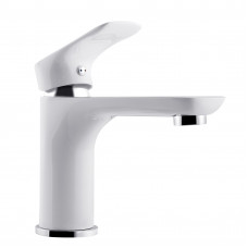 Bathroom White & Chrome Basin Mixer Solid Brass Vanity Tap