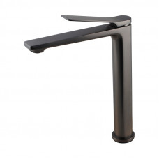 Rumia Bathroom Brushed Gunmetal Grey Tall Basin Mixer Tap Solid Brass ..