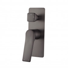 Rumia Brushed Gunmetal Grey Shower Wall Mixer With Diverter Solid Bras..