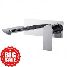 Chrome Bathtub/Basin Wall Mixer With Spout Wall Mounted
