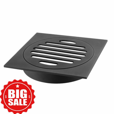 110x110mm Square Black Brass Floor Waste Shower Grate Drain FD004B