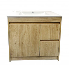 750mm White Oak Vanity Units Single Porcelain Basin Plywood  Cabinet