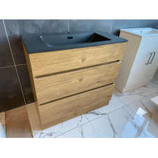 600mm Plywood Floor Standing Vanity  With Matt Black Basin
