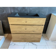 900mm Plywood Floor Standing Vanity  With Matt Black Basin