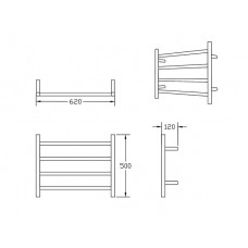620Wx500Hx120mm 4 Bar Round Stainless Steel Heated Towel Rail