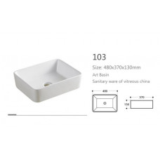 490X385X130mm Above Counter Square White Ceramic Basin Counter Top Wash Basin